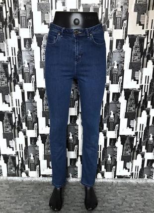 #463 синие джинсы слим прямого кроя высокой посадки marks&spencer