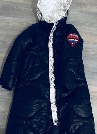 Куртка-пуховик. довга. якісна фурнітура є (капішон золото і срібло)5