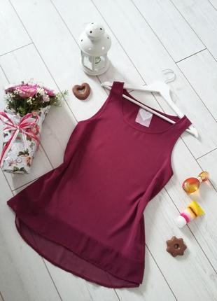 Старт огромных скидок! лаконичная блуза топ гранатовый цвет..#00054