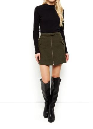 Плотная шерстяная юбка-трапеция цвета хаки new look теплая мини юбка с молнией спереди