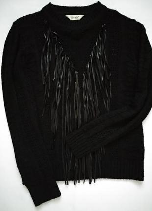 Крутой черный свитер джемпер ажурной вязки с бахромой s/m