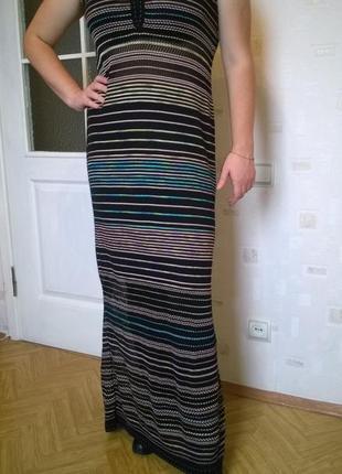 Стильное макси платье в пол в полоску итальянского бренда missoni оригинал