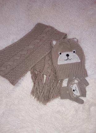 Шапка шарф варежки рукавиці