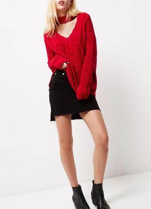 Обновка 💔 ярко-красный свитер с косами и v-образным декольте river island 2 цвета