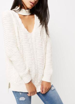 Обновка 💔 кремовый свитер с косами и v-образным декольте river island 2 цвета