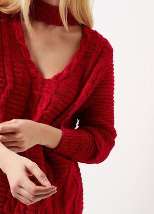 Обновка 💔 ярко-красный свитер с косами и v-образным декольте river island 2 цвета3 фото