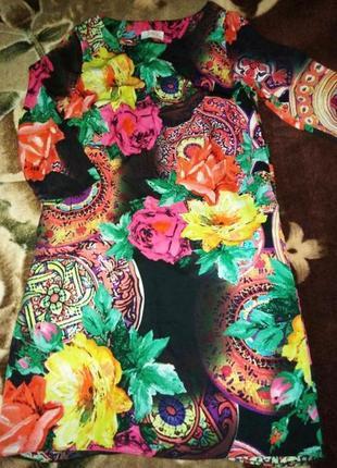 Платье прямого кроя в цветочный принт