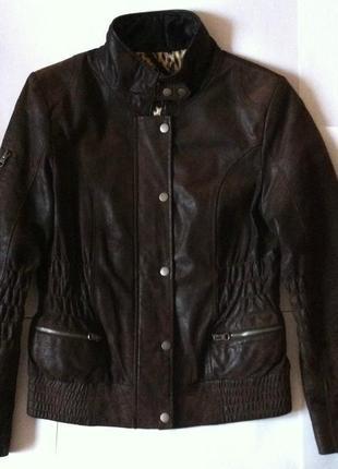 Куртка liv коричневая под замш