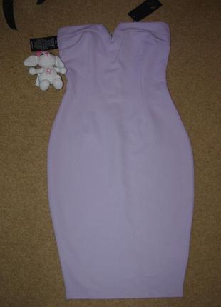 Классное платье миди без бретелей 42-44