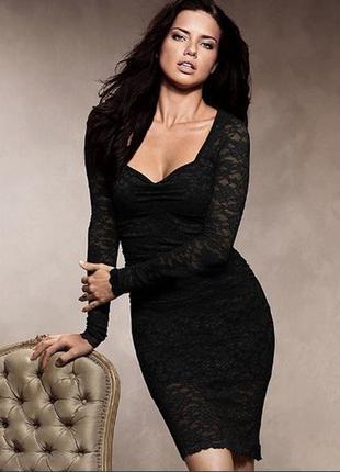 Черное кружевное платье victoria's secret
