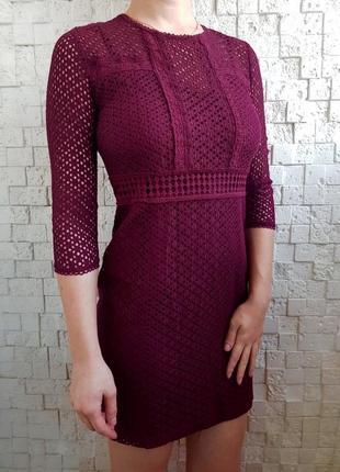 Праздничное новогоднее платье цвета марсала stradivarius
