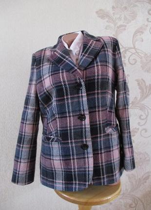 Жакет/пальто/пиджак/клетка/70% шерсть/m-l