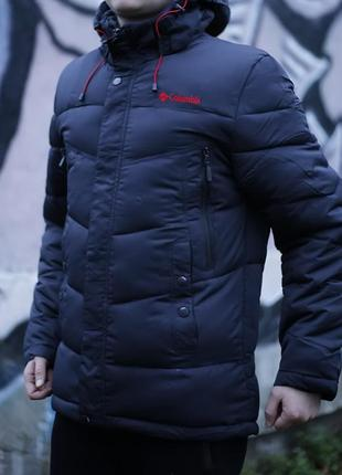 Мужская куртка пуховик парка синего цвета columbia