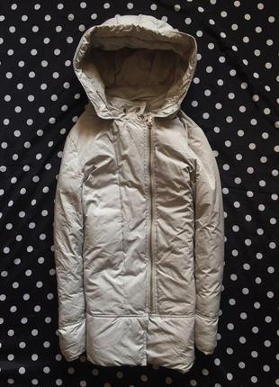Белая курточка zara пуховик косуха парка размер xs-s