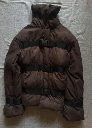 Коричневая дутая куртка пуховик курточка размер м-l