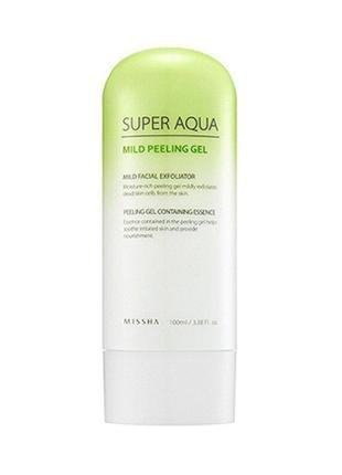 Мягкий пилинг-гель для лица missha super aqua mild peeling gel