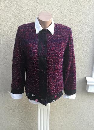 Фактурный жакет,пиджак окантовка кружево,пайетки,хлопок indigo moon