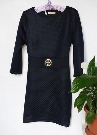 Стильное стеганое платье тёплое с имитацией под кожу от d'she