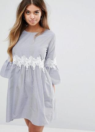 Ліквідація товару до 10 грудня 2018 !!!   платье в полоску с присборенной юбкой boohoo