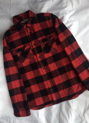 Стильная клетчатая рубашка от h&m на 12-13лет