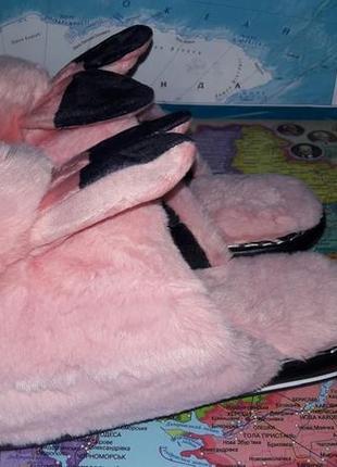 Розовые пушистые тапочки с ушками и помпоном р.35, 36, 37, 38, 39