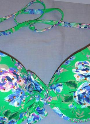 Верх от купальника раздельного топ лиф бюст чашка 75 c d зеленый синий новый шикарный
