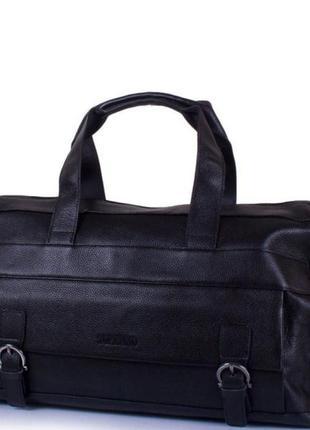 Кожаная стильная модная вместительная дорожная сумка для спортзала