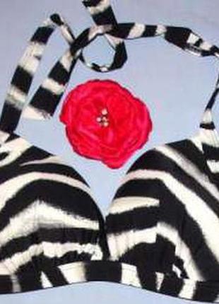 Верх от купальника раздельного топ лиф бюст чашка 80 dd d черный белый зебра серый