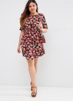 Ліквідація  до 29 грудня 2018 !!!    розовое свободное платье с цветочным принтом asos