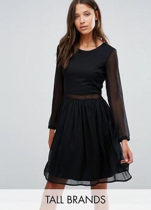 Платье с рукавами и кружевной вставкой y.a.s tall
