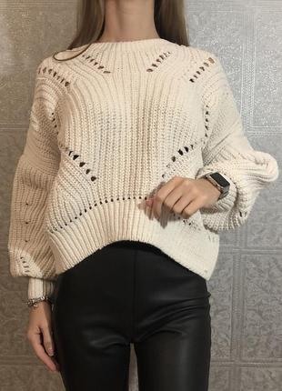 Объёмный велюровый свитер new look