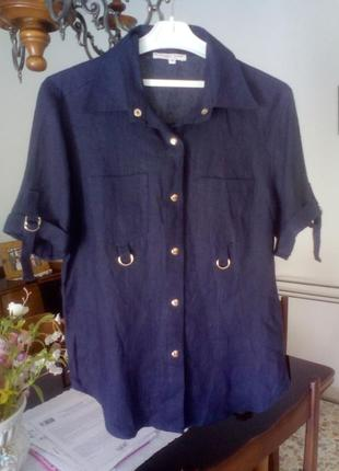 Лёновая рубашка с короткими рукавами