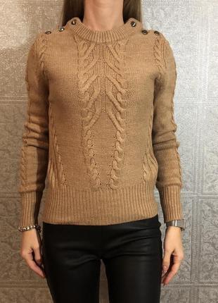 Песочный свитер с шерстью marks&spencer