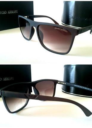 Мужские очки солнцезащитные коричневые матовая оправа
