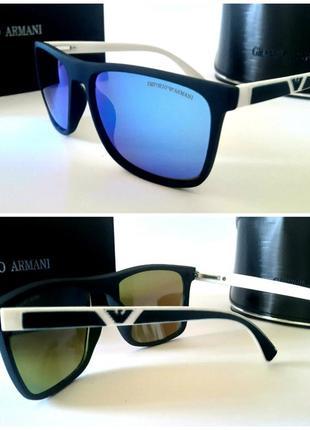 Мужские солнцезащитные очки голубые зеркальные линзы