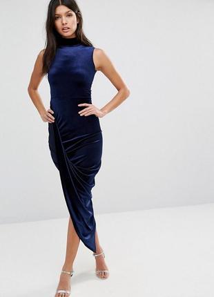 Ліквідація товару до 29 грудня 2018 !!!   бархатное платье миди асимметричной дины club l