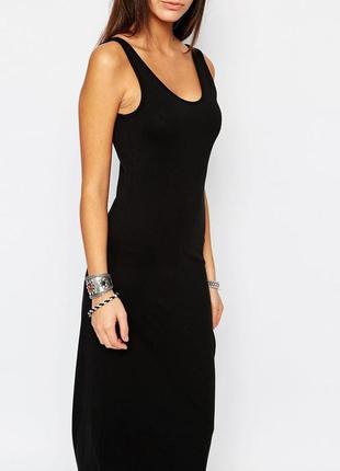 Базовое черное платье майка макси