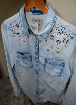 Джинсовая рубашка, сорочка со стразами denim co