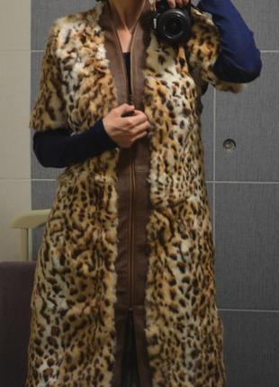 Жилетка шуба пальто леопард италия