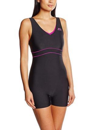 Спортивный слитный цельный купальник шортиками (костюм для бассейна) slazenger xs-s