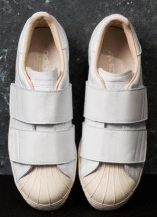 Кроссовки белые на липучках adidas оригинал из америки , натуральная кожа,размер 38,новые