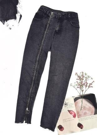 Джинсы mom jeans zara basic with zip line