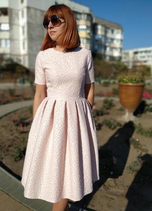Пудровое платье для мамы и дочки family look фемили лук