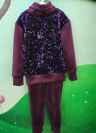 Велюровый костюм для мамы и дочки family look. все размеры4