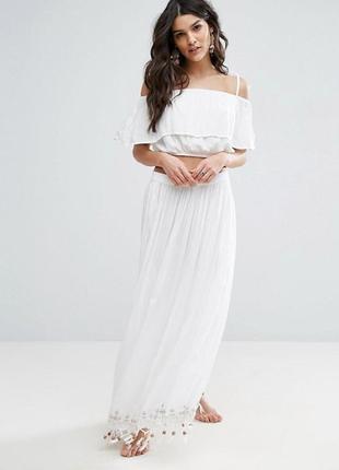 Пляжная юбка макси и топ-бандо в тон anmol
