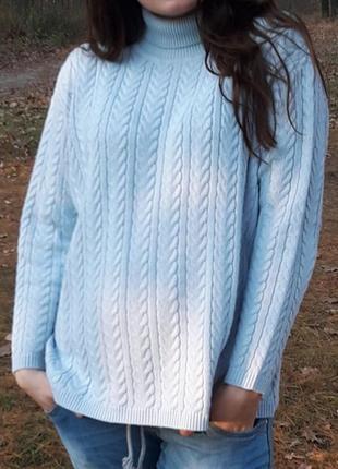 Свитер оверсайз, вязаная кофта oversize, вязаный теплый свитер, вязка косичка
