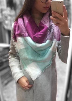 Теплый шарф плед платок в клетку мятный с фиолетовым