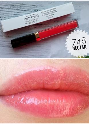 Ультраглянцевый блеск для губ chanel rouge coco gloss # 748 nectar