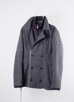 Серое шерстяное пальто angelo litrico