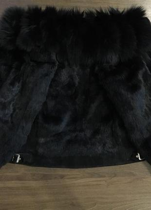 Куртка замшевая, шуба с меха кролика, шубка теплая зимняя натуральная